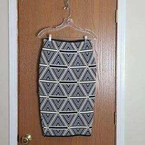 Sol & Cielo Geometric Print Pencil Skirt Small